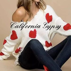 Distressed Heart Frayed Knit Sweater